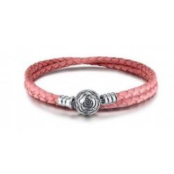 Bransoletka modułowa różowa skórka zapięcie róża, skóra naturalna, srebro 925