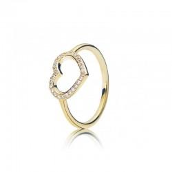 Złoty pierścionek serce cyrkonia sześcienna Pandora 150179CZ  złoto 585