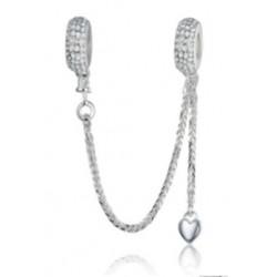 Łańcuszek zabezpieczający skrzący z sercem, srebro 925