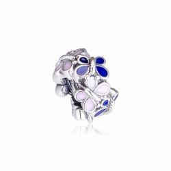 Charms separator emaliowane motyle, srebro 925