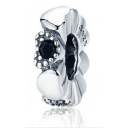Charms separator czarne serce, srebro 925