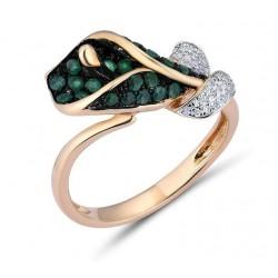 Złoty pierścionek zielona kalia, złoto 585, 34 diamenty, 35 szmaragdów