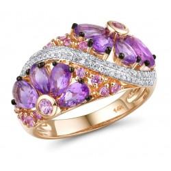 Złoty pierścionek szafirowa łąka, złoto 585 rose gold, 68x diament, 26x szafir