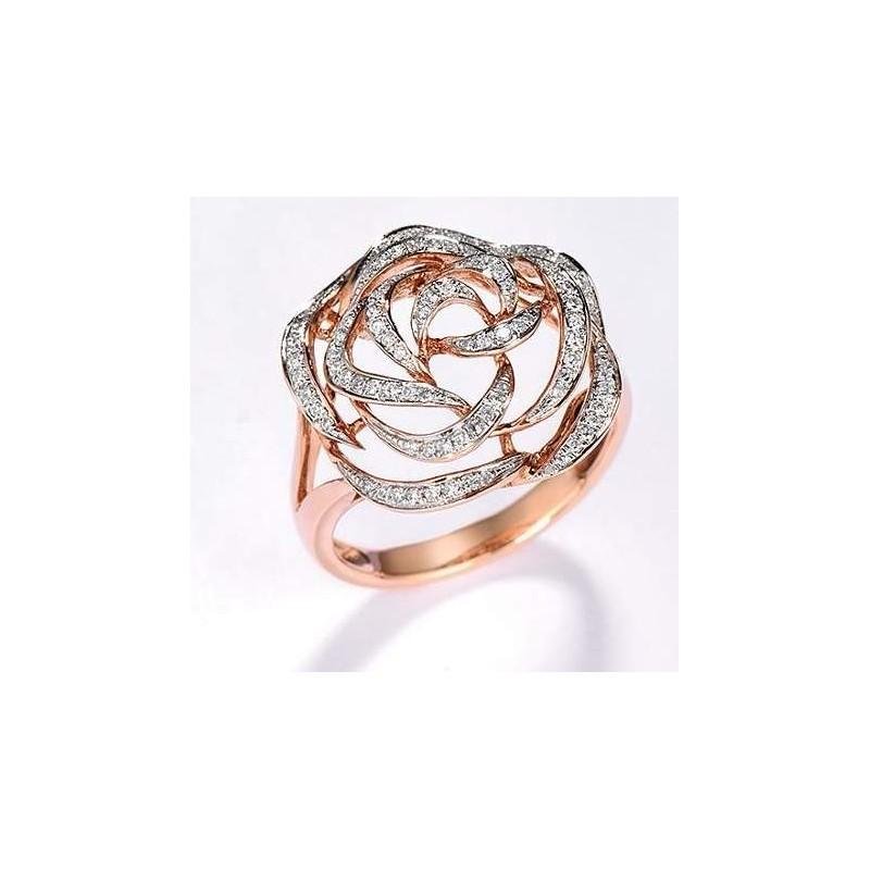 Złoty pierścionek brylantowa róża, złoto 585 rose gold, 98x diament