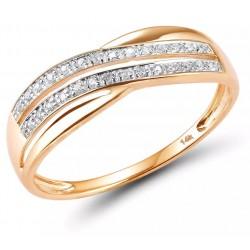 Złoty pierścionek zaręczynowy klasyczna fala, złoto 585 rose gold, 28x diament 0,056ct