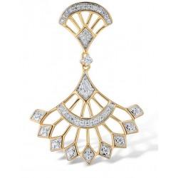Złota zawieszka lśniący diamentowy wachlarz, 14-karatowe złoto, 47x brylant 0,135ct