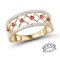 Pierścionek zaręczynowy rubinowa ścieżka, złoto 585, 60x diament 0,18ct, 6x rubin 0,18ct
