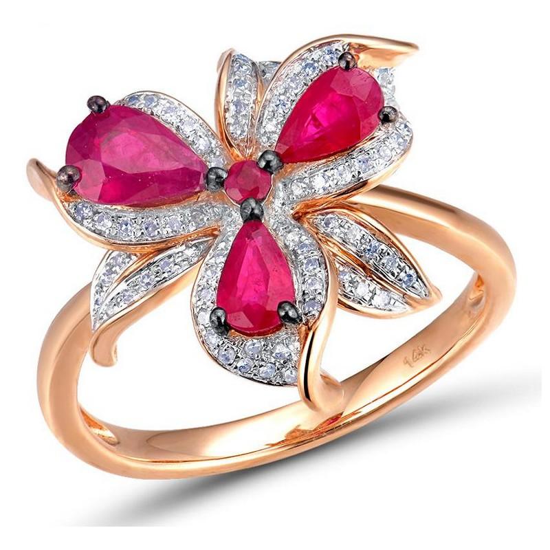Ekskluzywny złoty pierścionek rubinowy kwiat z diamentami, różowe złoto 585, 90x brylant 0,18ct, 4x rubin