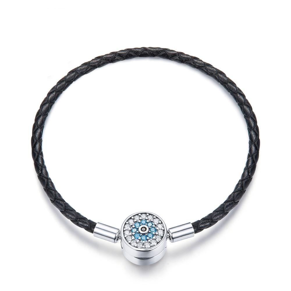 skórzana bransoletka - baza na charmsy ze srebrnym zapieciem